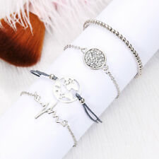 4 PCS Sexy Women Silver Chain Elegant Charming Jewelry Rope Bangle Bracelet Set