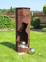 Feuer Säule Katze + Schale Edelrost Rost Garten Deko Fackel Katzen Kater rostig