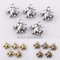 30pcs Tibetan silver Thailand Elephant Charm Pendant Findings 12*12mm