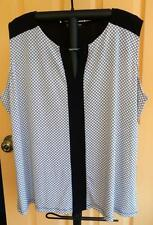 Jones New York Collection Woman Sleeveless Top Blouse Black & White Plus Size 3X