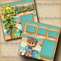 BEACH ~ BOY ~ 2 premade scrapbook pages for album layout paper piecing DIGISCRAP