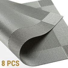 6pcs Silver Grey Table Place Mat PVC Non-slip Flexible Washable Insulation Plaid
