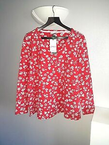 JOULES ladies size 14 harbour top swing red vneck jersey red white BNWT