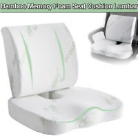 Memory Foam Seat Cushion Set Lumbar Hip Back Support Waist Protection Home Chair