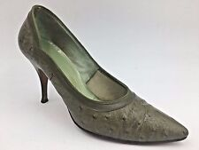 Vintage 1960s Jacqueline Olive Green Ostrich Look Pointy size 7.5 Pumps Heels O2