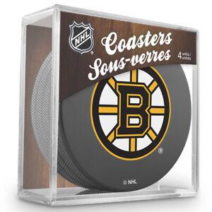 Boston Bruins NHL Team Logo Hockey Puck Coasters (Package of 4) in Cube