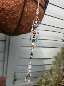 7 Chakra & lava stone Healing guardian Angel crystal Suncatcher (Agate stones.