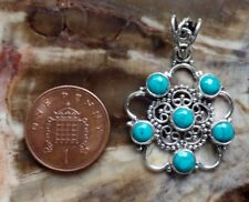 December Birthstone Boho Sterling Silver and Turquoise 6 Stone Pendant