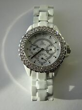 SK Time White Ceramic Look Alike Austria Crystal Pave Stones Watch - Women 4125