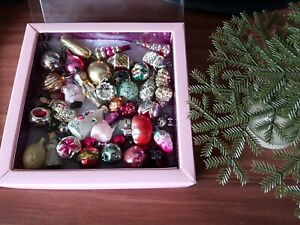 Vintage Russian Cristmas Tree With Glass Figurines