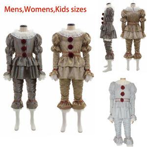 Stephen King's It Mens Kids Halloween Cosplay Costume Pennywise Clown Suit Joker