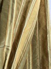 "Gold  Stripe  Custom Made  Pinch Pleated Silk Drapes 2 Panels 98""Long"