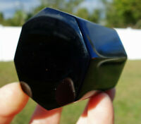 Black OBSIDIAN OCTAGON Scrying Tarot Crystal Volcanic Glass from Mexico For Sale