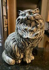 "Persian Cat Kitten Ceramic Large 14"" Tall Figurine White Gray Black Beautiful"