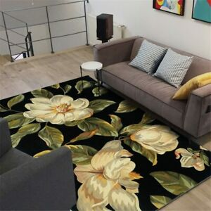 Black Carpet Flower Modern European Floral Carpet Beside Rugs Bedroom Floor Mat