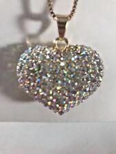 Betsey Johnson Necklace HEART CRYSTALS Gold Gift Box & Organza Bag World Love