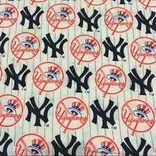 "MLB NEW YORK YANKEES  100% COTTON FABRIC NEW FAT QUARTER WHITE  VHTF 18""X29"""