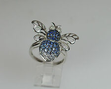 14K WHITE GOLD BLUE SAPPHIRE DIAMOND BUMBLE BEE INSECT NATURE STATEMENT RING