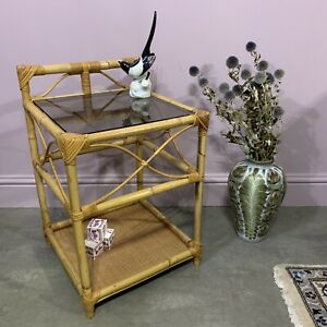 Bamboo Wicker Bedside Side Lamp Table Smoked Glass - Delivery Available