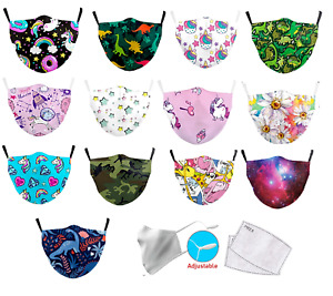 Kids Protective Adjustable Reusable Washable Face Mask + 2x PM2.5 Filters