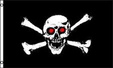Skull and Crossbones Red Eyes Flag 2x3 ft Jolly Roger Bones Pirate Ship Black