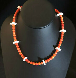 "Coral Mother of Pearl Necklace Sterling Silver Orange 6mm Bead 16.75"" 29g #934"