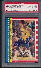 1987/88 Fleer Sticker #1 Magic Johnson PSA/DNA Certified Authentic Auto *9606