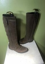 Steve Madden Brown Leather Distressed Multi Zip Linderr Knee High Boots SZ 8