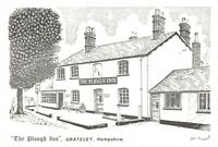 Art Sketch Postcard The Plough Inn, Grateley, Hampshire by Don Vincent AS1