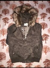 Womens khaki fur hooded bomber jackets