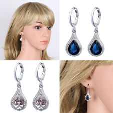 Fashion White Gold Filled Blue Clear Crystal Zircon Drop Dangle Earring Ear Stud