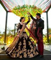 Dos Tonos Bollywood Indio Lehenga Étnico Fiesta Nupcial Boda Vestido Lengha