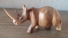 Vintage Handcarved Artist Rhinocerous Statue Wood African Wooden Rhino Sculpture