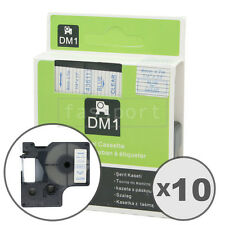 """10pk Blue on Clear Tape Label Compatible for DYMO 43611 D1 6mm 1/4"""""""