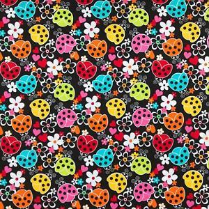 Ladybugs / Ladybirds black daisies hearts fabric by Robert Kaufman