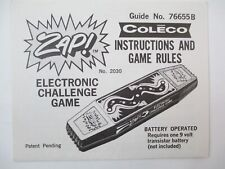 Vintage Coleco Zap! 1978 Instructions and Game Rules Manual Only Video Game