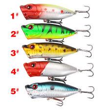 5* Plastic Popper Fishing Lures Bass Bait CrankBait Hooks Top Water Rattle #YA9
