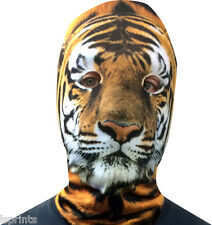 TIGER FACE EFFETTO 3D faccia PELLE LYCRA Faccia Maschera Morte Spaventosa Halloween