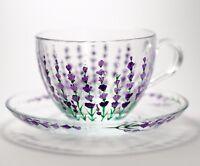 Tea Cup and Saucer Floral Glass Set Lavender Painted Mug Grandma Gift Christmas
