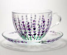 Tea Set Cup and Saucer Painted Lavender Flower Cup Grandma Mug Mothers gifts