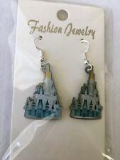"""Disney Magic Kingdom """"Cinderella Castle"""" Earrings w/ .925 Sterling Silver Hooks"""