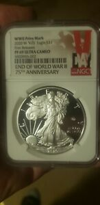 2020 W END of WORLD WAR II 75th  ANN SILVER  EAGLE V75 - NGC PF69 FIRST RELEASE