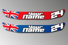 2 X Custom Name Number British Flag Helmet Visor Sunstrip Sticker Decal - 300mm