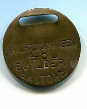 CL Stockhausen Builder Tool Tag Baltimore Maryland Token MD