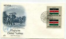 United Nations #406 Flag Series, Kenya, ArtCraft, pair,  FDC