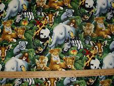 Cotton Fabric ZOO Animals Panda Elephant Zebra Monkey Koala Tiger BTY
