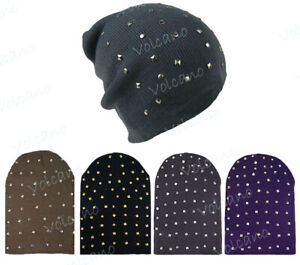 UNISEX KNITTED SLOUCH BEANIE HATS WITH STUDDED DETAIL. WARM WINTER HAT, SKI,