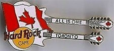"Hard Rock Cafe TORONTO 1998 White DN Flag Guitar PIN HRC #10209  ""ALL IS ONE"""