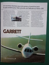 10/1982 PUB GARRETT TURBO-REACTEUR  ATF3 ENGINE DASSAULT FALCON 200 FRENCH AD