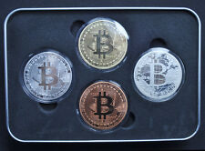 A SET OF 4pcs BIT COIN PHYSICAL BIT COMMEMORATIVE COINS  [NOT A IRON BOX]